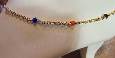 """Multi-Colored Crystals Gold Chain Anklet  10-1/2"""""""