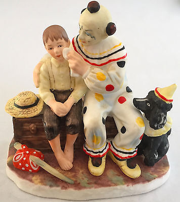 "NORMAN ROCKWELL GORHAM FIGURINE ""THE RUNAWAY"" BOY CLOWN DOG 3.75"" x 3.75"" x2.5"""