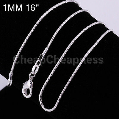 New Fashion Chic Women 1mm Silver Plated SNAKE Chain Necklace CA SP