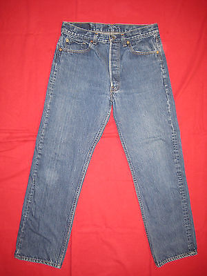 D7783 levi's 501 blue  34x32 jeans shrink to 31x29 vintage made in the U.S.A.