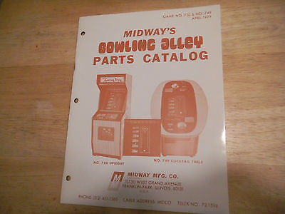BOWLING ALLEY parts catalog midway new old stock   original arcade game   manual