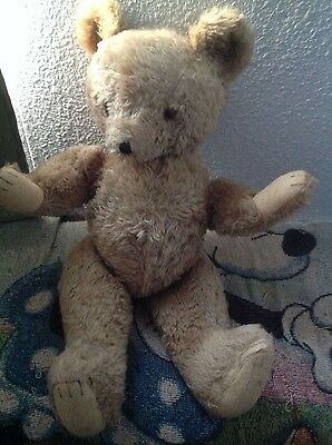 """Vtg teddy bear 22"""" golden brown fully articulated has no tag or identifying mark"""
