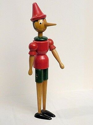 """Vintage Pinocchio 22 1/2"""" Joint Hinged, Wood Boy Doll, Made in Italy"""