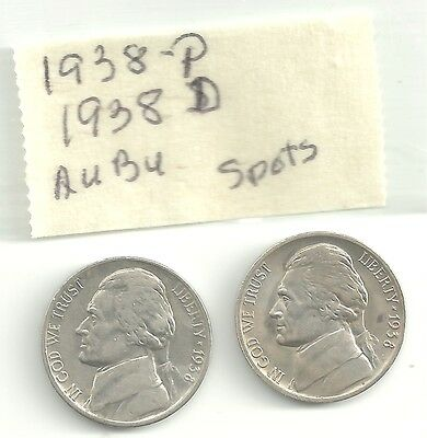 JEFFERSON NICKELS   1938-P and 1938-D   AU.BU