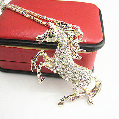 Rose Gold Plated Crystal Steed Horse Unicorn Pendant Long Sweater Necklace