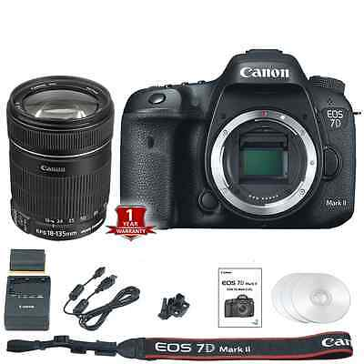 Canon EOS 7D Mark II / MK2 DSLR Camera Body + 18-135mm EF-S IS Lens Bundle - New