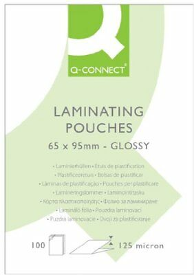 NEW Q Connect 65x95mm 125 Micron Laminating Pouch (Pack of 100)