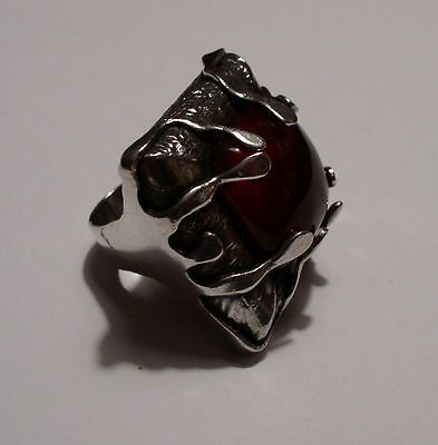 VERY LARGE modernist abstract brutalist sterling RING with amber cabochon