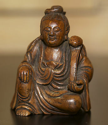 antique Chinese carved Bamboo statue of a Guanyin, 19th century piece. FINE RARE