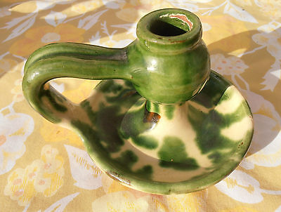 Antique French Provençal Yellow & Green Candle Holder CERAMIC Mediterranean