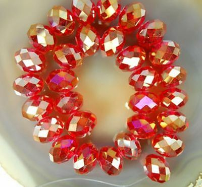 4x6mm Red AB Swarovski Crystal Faceted Abacus Loose Bead 100pcs