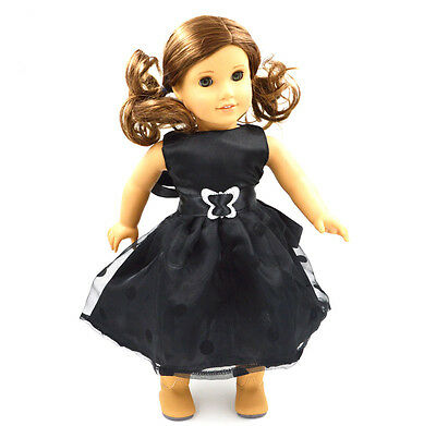 "High Quality Black Clothes  Fits For 18"" American Girl doll For Kids Gift D"