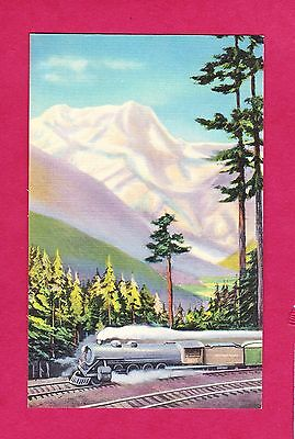 NORTHERN PACIFIC NORTH COAST LIMITED MOUNT RAINIER Trains Linen Vintage Postcard