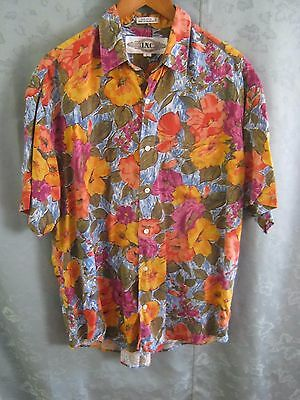 VTG 90's I N C Floral Revival Club Shirt Size Large Round Cut Tails Loud Shirt