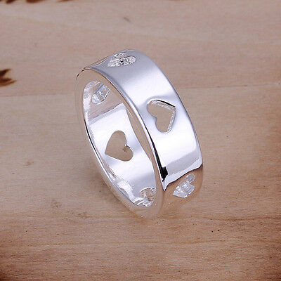 HOT Sale Special Jewelry Women New Silver Heart Rings Fit Fashion Party R110
