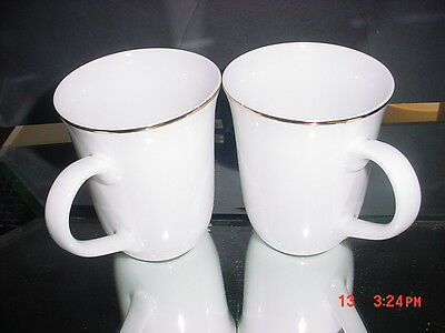 LINEN'S-N-THINGS GOLD BANDED WHITE MUGS set of 2