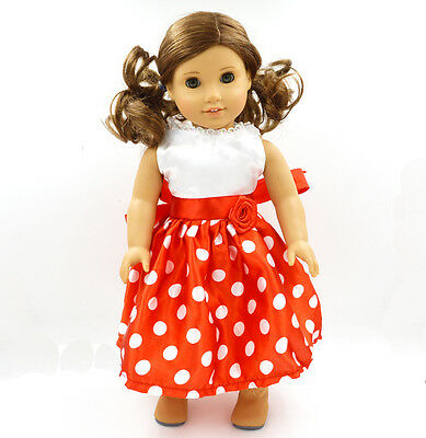 The Princess Skirt Doll Clothes for 18''American Girl Handmade Party Red Dress
