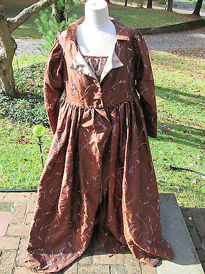 REENACTOR REGENCY 19TH C REPRO GOWN DRESS PELISSE COAT EMBROIDERED SILK SATIN L