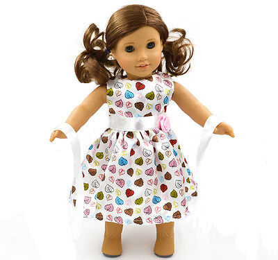 American Girl  Doll Clothes for 18'' American Girl Handmade  Party White  Dress