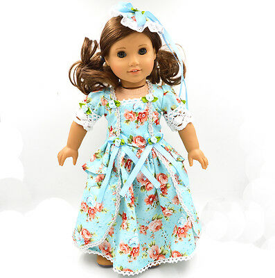New  2015  Doll Clothes for 18'' American Girl Handmade Blue  Party Dress
