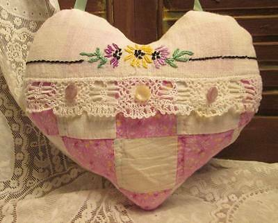 Sweet Hanging HEART Pillow made from VINTAGE Quilt & EMBROIDERY ~ Collectible