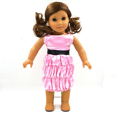 "2015 HOT sale Doll Clothes fits 18"" American Girl Handmade Party  Pink Dress"