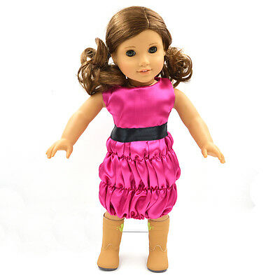 Fashion American Girl Doll Clothes and Accessories Handmade Party Rose  Dress