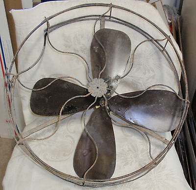 """VINTAGE BRASS 16"""" ELECTRIC FAN BLADE+17"""" WIRE CAGE-GE-EMERSON-WESTINGHOUSE-LOOK!"""