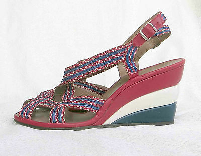 Vintage 1940s Ted Saval Three Layer Wedge Sandals Shoes Red White Blue  7 1/2