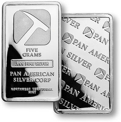 (ONE)  PAN AMERICAN 5 GRAM .999 FINE SILVER BAR  FXD 8