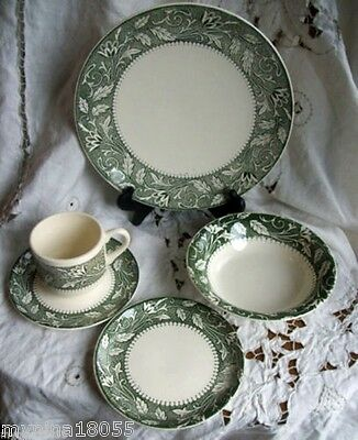 Vintage J & G Meakin Lucerne 5 pc Single Place Setting Green Band *