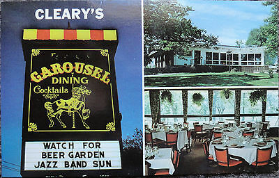 Vintage Postcard, Cleary's Carousel Restaurant/Dining/Cocktails, Warrenville, IL