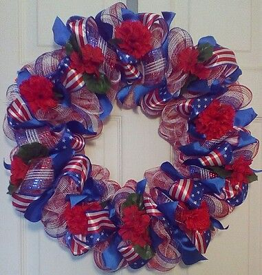 Deco Mesh Flag Ribbon Wreath, Patriotic Red White and Blue
