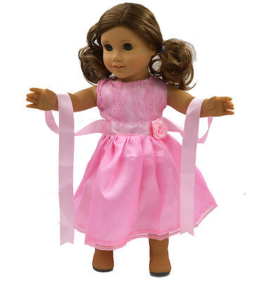 2015 New 18''American Girl Doll Clothes Handmade Pink  Party Dress Accessories