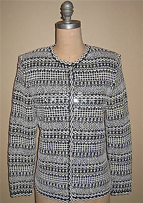 ST. JOHN KNIT-EVENING-BLACK & WHITE PAILLETTES & CRYSTALS JACKET-$1,495-SMALL