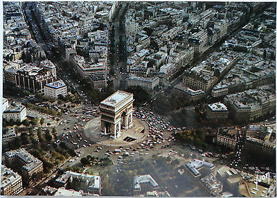 Vintage Postcard Aerial View -  Arc De Triomphe/Surrounding City - Paris, France