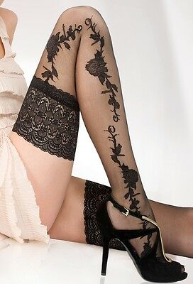Patterned Hold ups 13 cm Deep Lace Top hold ups stockings 20 Denier Hold Ups