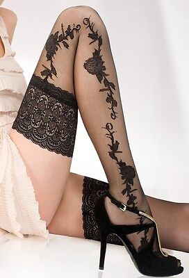Sensuous 13 cm Deep Lace Top Patterned Hold-ups-stockings 20 Denier New