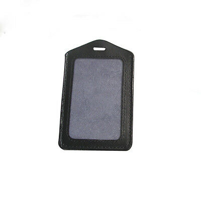 Black Leather Business ID Credit Card Badge Holder Clear Pouch Case Tag Organize