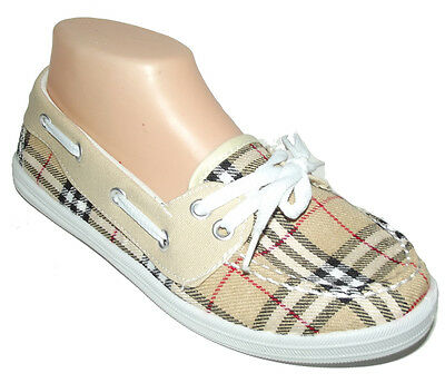 NEW Beige White Black red Plaid SLIP ON LOAFER MOCCASIN WOMEN FLAT Shoes Sz 7.5