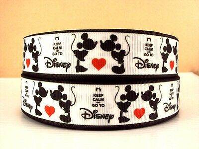 """1 yard 1"""" Mickey & Minnie Mouse """"Stay Calm and go to Disney"""" grosgrain ribbon"""