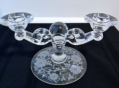 Vintage TIFFIN GLASS DOUBLE CANDLEHOLDER HORSE SHOE RIBBON ETCHED PATTERN 1930s