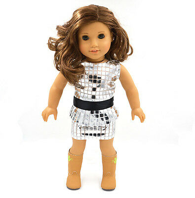 2015 Fashion Red Doll Clothes for 18''  American Girl Handmade Party Dress