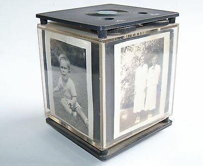 Vintage Picture Holder Cube Transistor AM Radio - Rotating - Desk - Photo