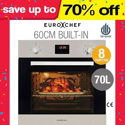 EUROCHEF 60cm Electric Wall Oven - Fan-Forced - 8 Function - Grill Touch Control
