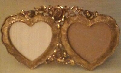 Vintage Gold Plated Double Heart Picture Frame By Matson