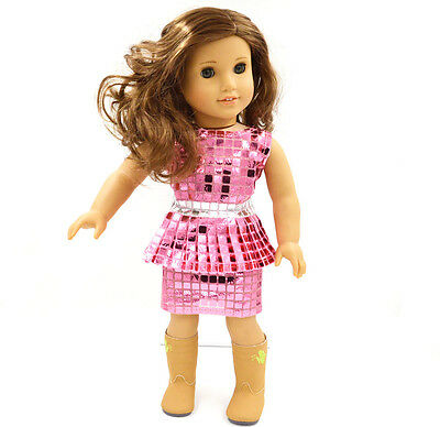 New  2015  Doll Clothes for 18'' American Girl Handmade Pink Party Dress