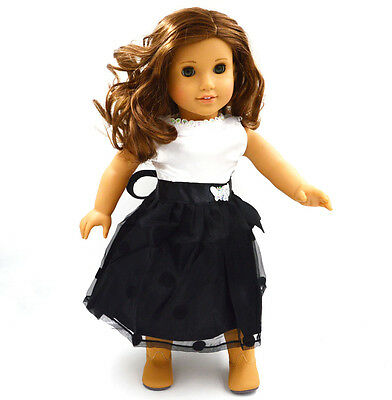"""HOT sale Doll Clothes fits 18"""" American Girl Handmade Party Black Dress"""