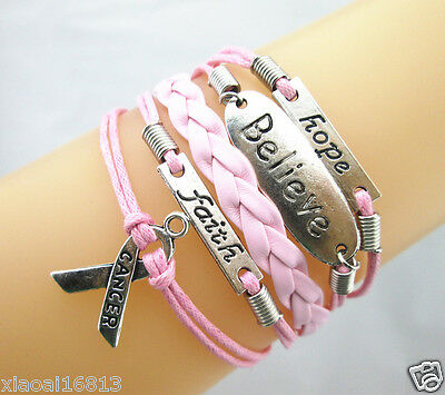 Pretty Hope/Believe/Faith/Breast Cancer RIBBON Leather Braided Bracelet - PINK