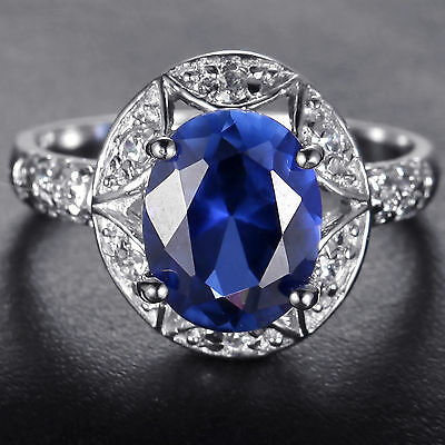 H69  100% Natural3.20ct Sapphire    Size US 7/ UK O 14KT White Gold